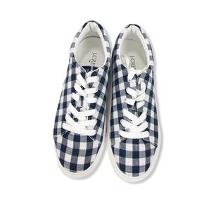 J. Crew Road Trip Sneakers Canvas Lace Up Gingham